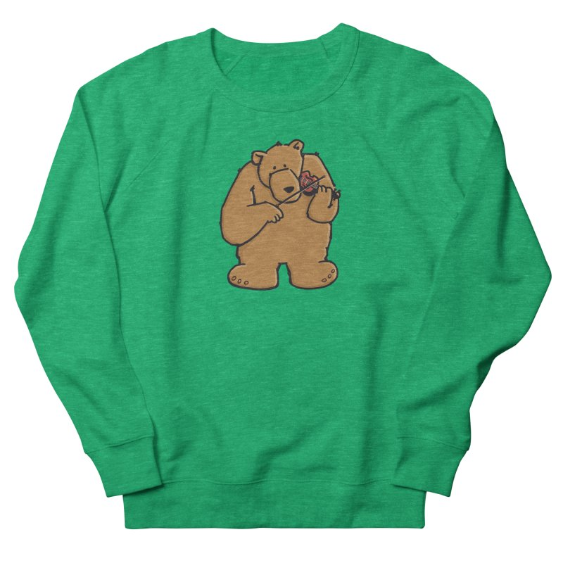 Cute Bear plays a sad and beautiful Love Song on the Violin Women's Sweatshirt by Illustrated Madness