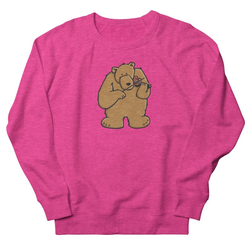 Cute Bear plays a sad and beautiful Love Song on the Violin Women's French Terry Sweatshirt by Illustrated Madness