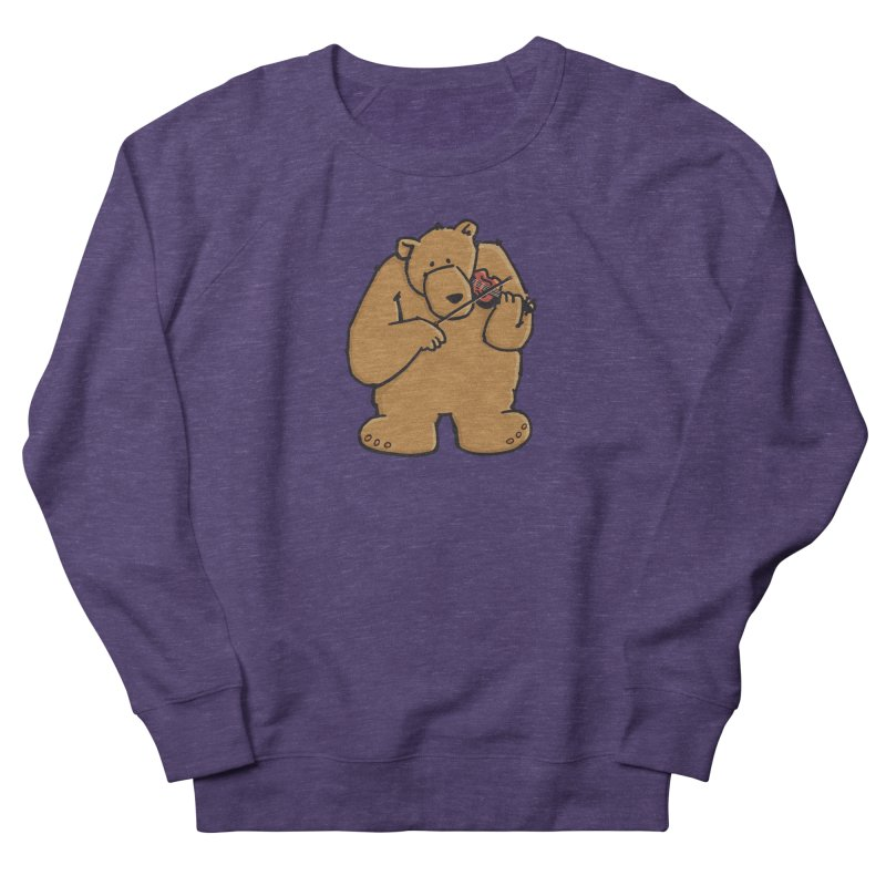 Cute Bear plays a sad and beautiful Love Song on the Violin Men's Sweatshirt by Illustrated Madness