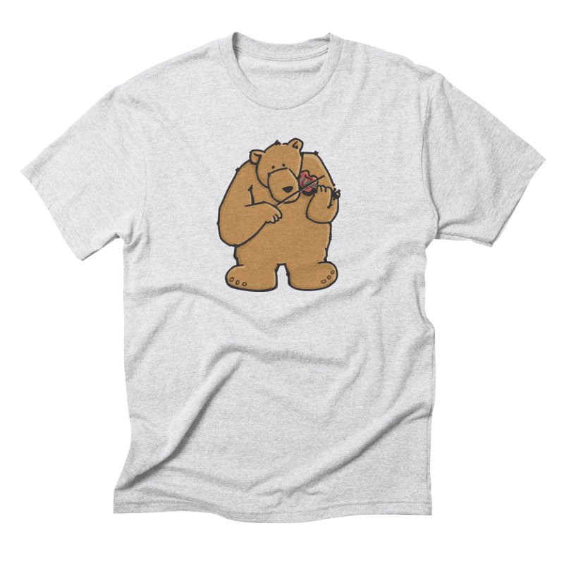 Cute Bear plays a sad and beautiful Love Song on the Violin Men's Triblend T-Shirt by Illustrated Madness