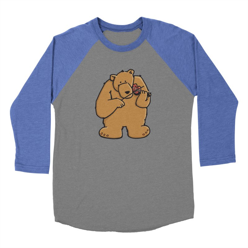 Cute Bear plays a sad and beautiful Love Song on the Violin Women's Baseball Triblend Longsleeve T-Shirt by Illustrated Madness