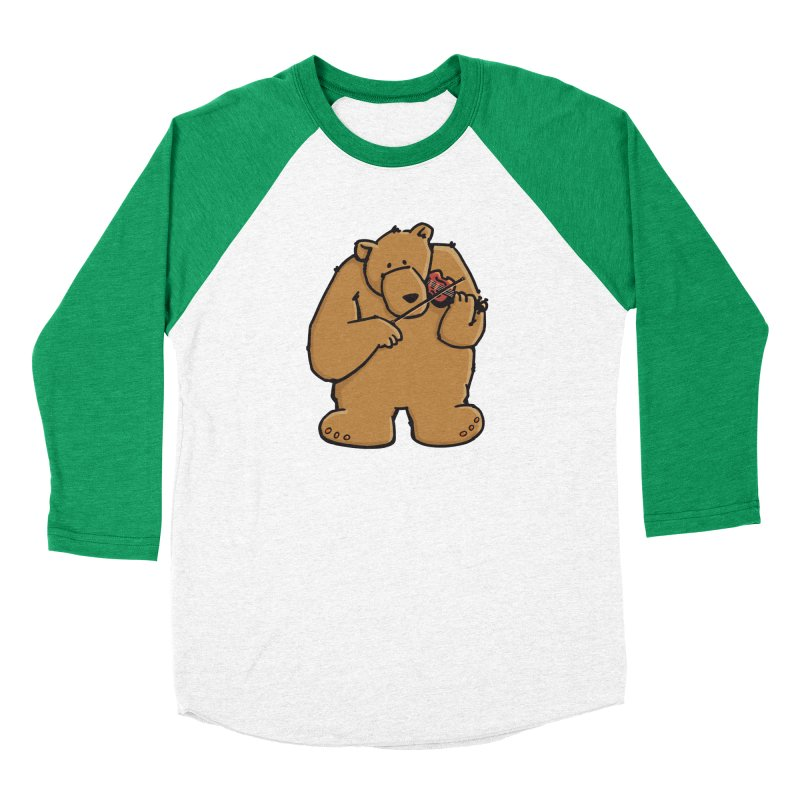 Cute Bear plays a sad and beautiful Love Song on the Violin Men's Baseball Triblend T-Shirt by Illustrated Madness