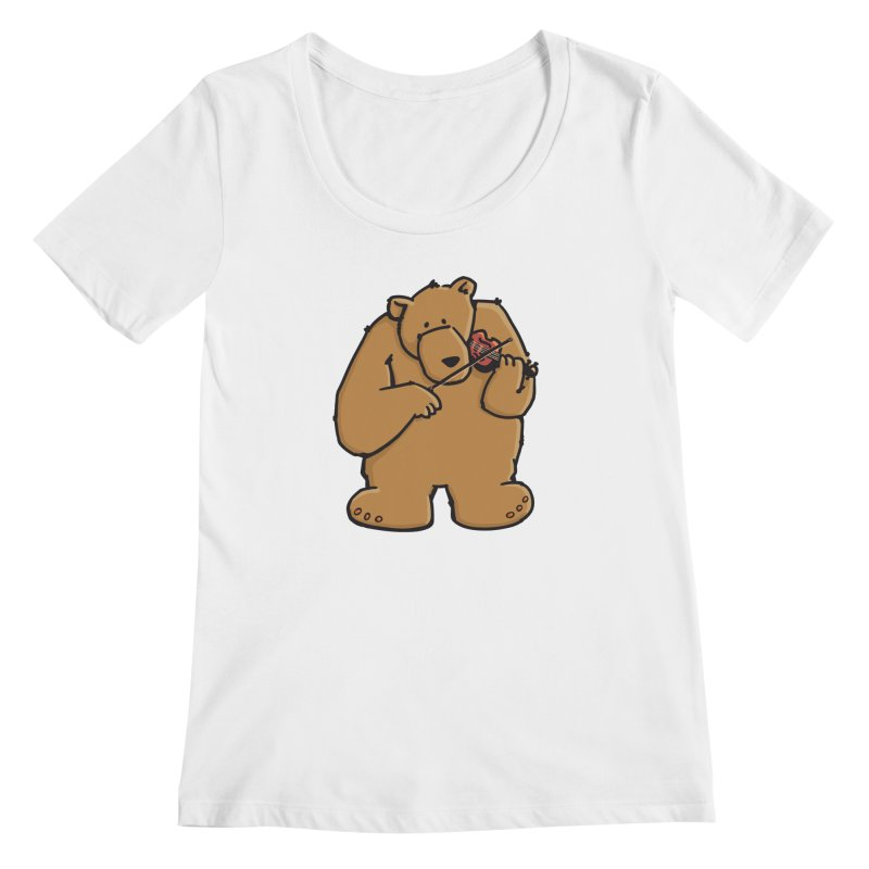 Cute Bear plays a sad and beautiful Love Song on the Violin Women's Regular Scoop Neck by Illustrated Madness