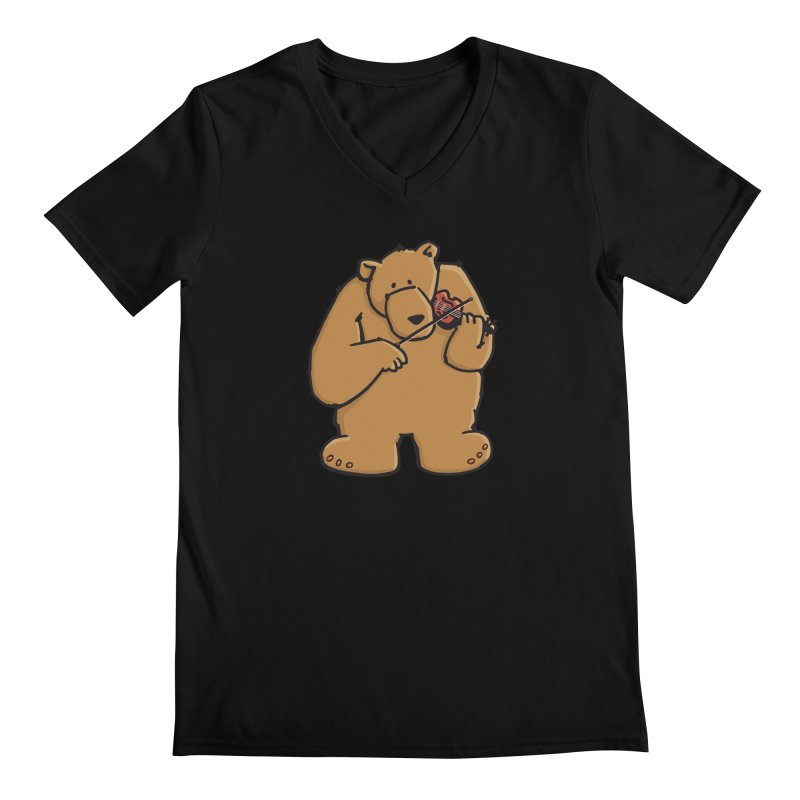 Cute Bear plays a sad and beautiful Love Song on the Violin Men's V-Neck by Illustrated Madness