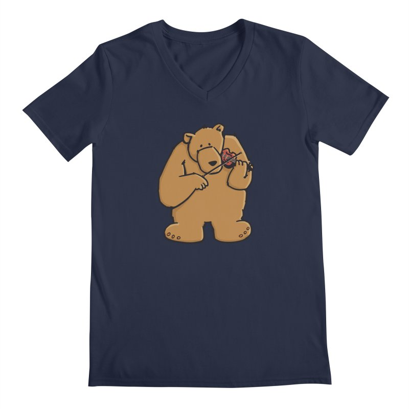 Cute Bear plays a sad and beautiful Love Song on the Violin Men's Regular V-Neck by Illustrated Madness