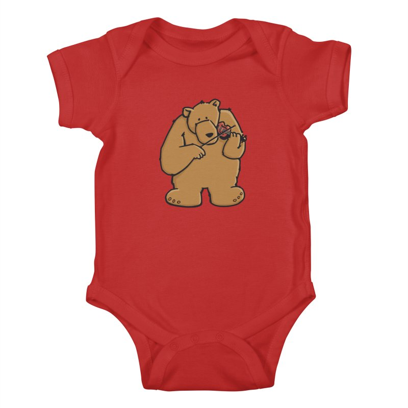 Cute Bear plays a sad and beautiful Love Song on the Violin Kids Baby Bodysuit by Illustrated Madness