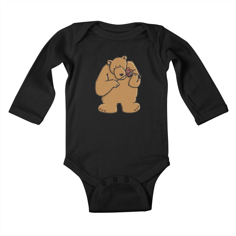 Cute Bear plays a sad and beautiful Love Song on the Violin Kids Baby Longsleeve Bodysuit by Illustrated Madness