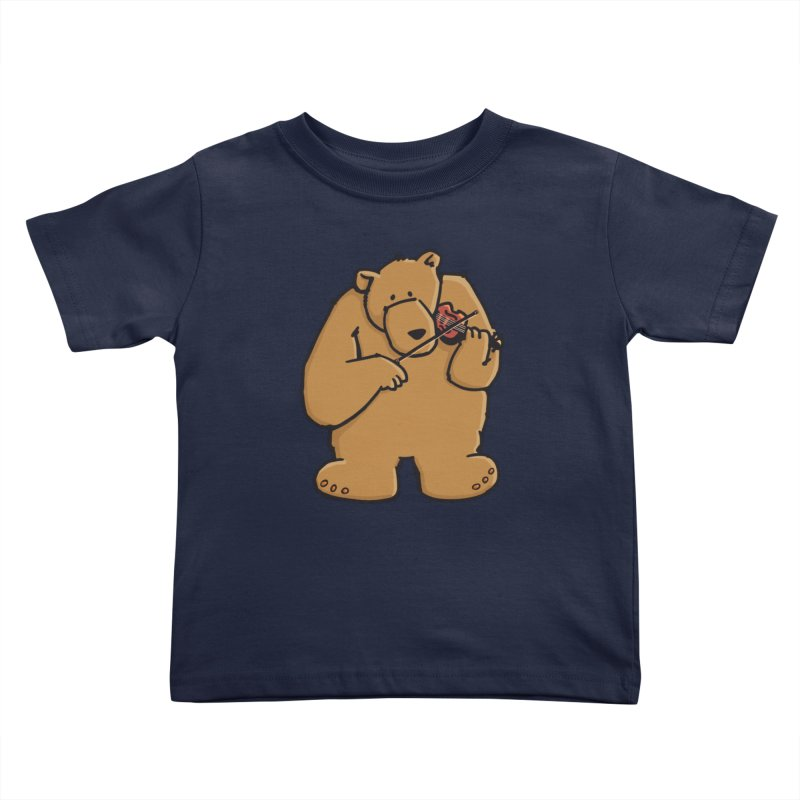 Cute Bear plays a sad and beautiful Love Song on the Violin Kids Toddler T-Shirt by Illustrated Madness