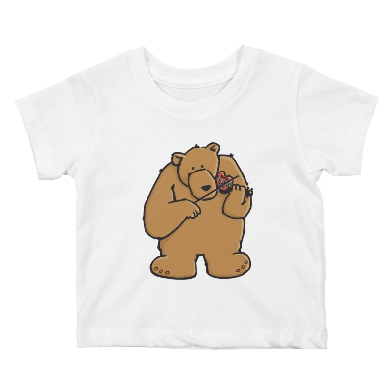 Cute Bear plays a sad and beautiful Love Song on the Violin Kids Baby T-Shirt by Illustrated Madness