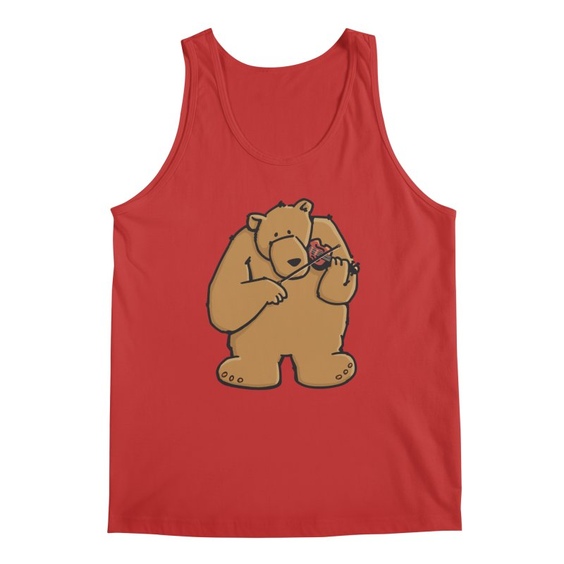 Cute Bear plays a sad and beautiful Love Song on the Violin Men's Regular Tank by Illustrated Madness