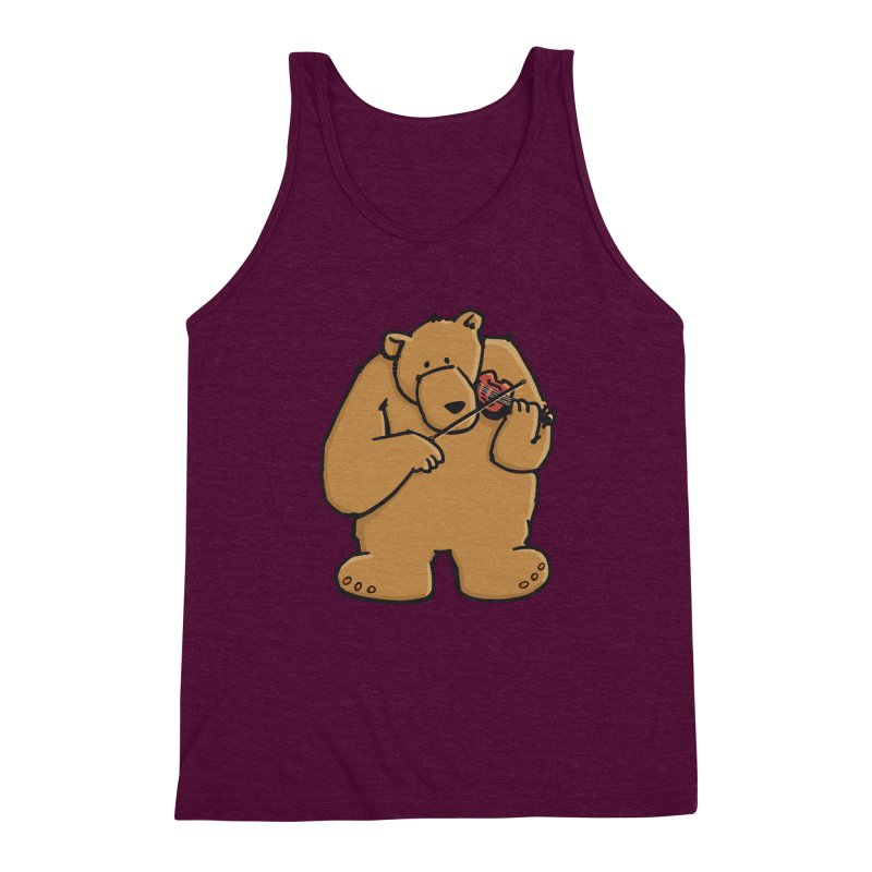 Cute Bear plays a sad and beautiful Love Song on the Violin Men's Triblend Tank by Illustrated Madness