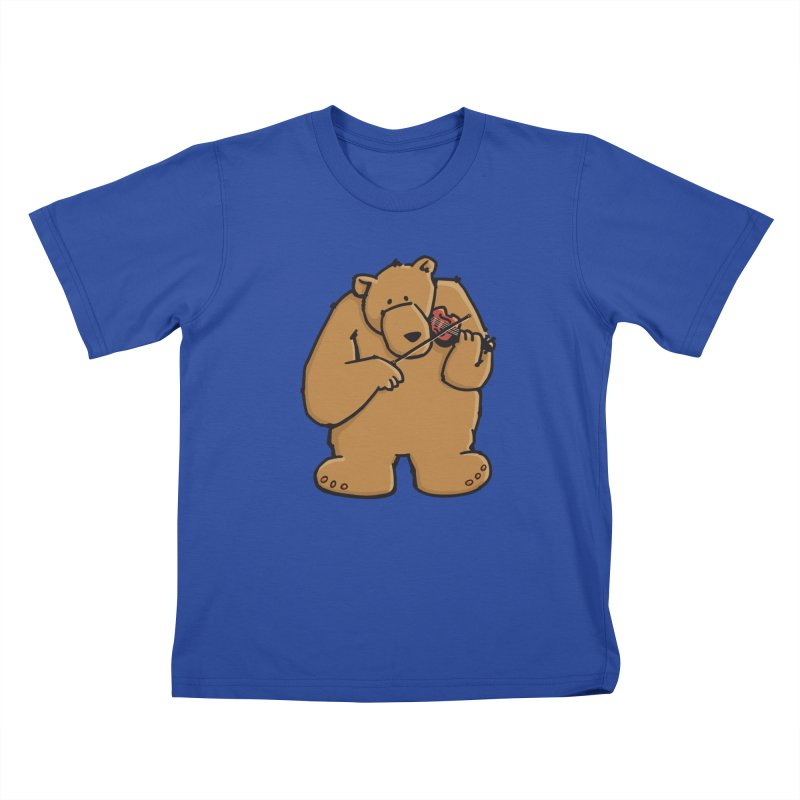 Cute Bear plays a sad and beautiful Love Song on the Violin Kids T-Shirt by Illustrated Madness