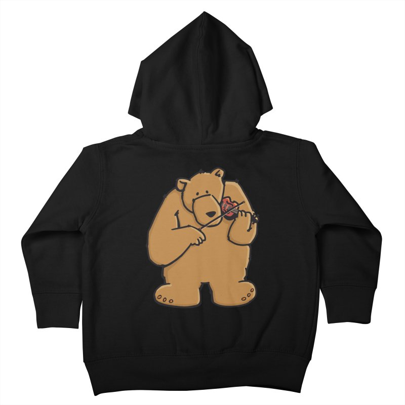 Cute Bear plays a sad and beautiful Love Song on the Violin Kids Toddler Zip-Up Hoody by Illustrated Madness