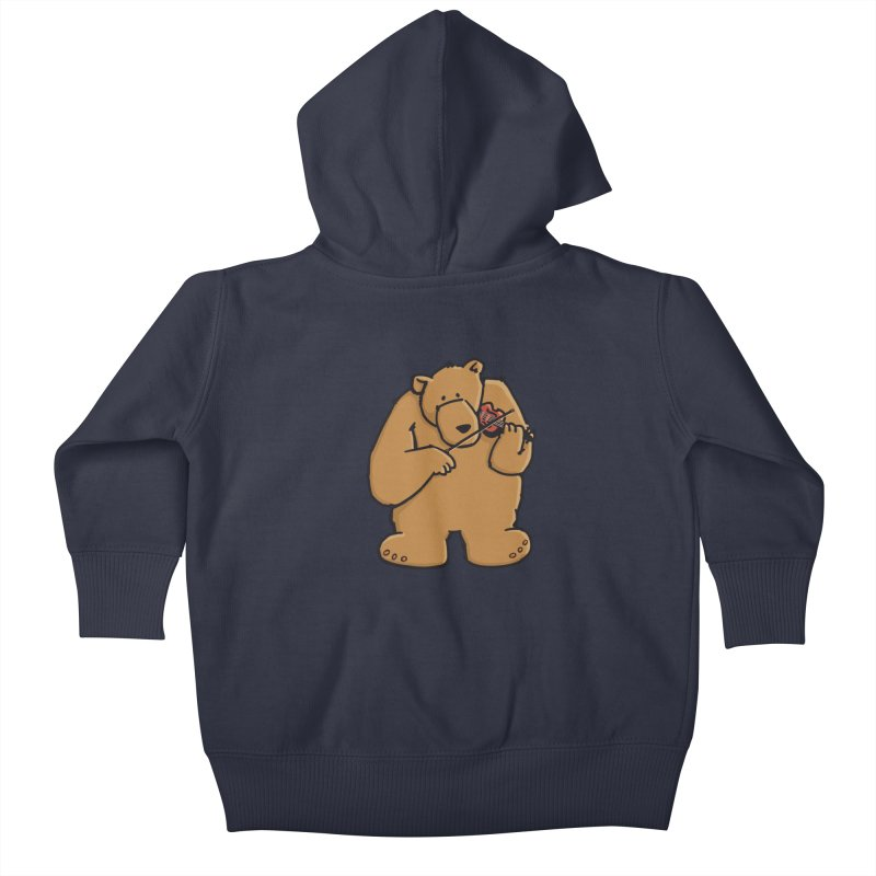 Cute Bear plays a sad and beautiful Love Song on the Violin Kids Baby Zip-Up Hoody by Illustrated Madness