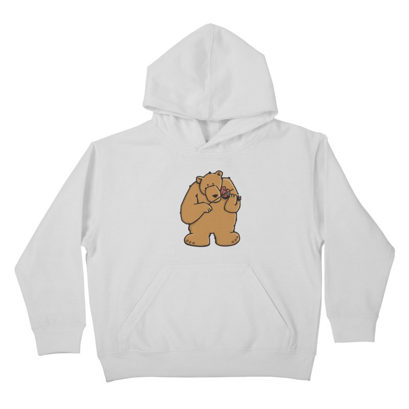Cute Bear plays a sad and beautiful Love Song on the Violin Kids Pullover Hoody by Illustrated Madness