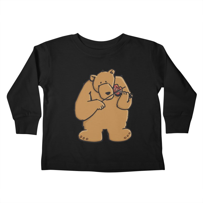 Cute Bear plays a sad and beautiful Love Song on the Violin Kids Toddler Longsleeve T-Shirt by Illustrated Madness