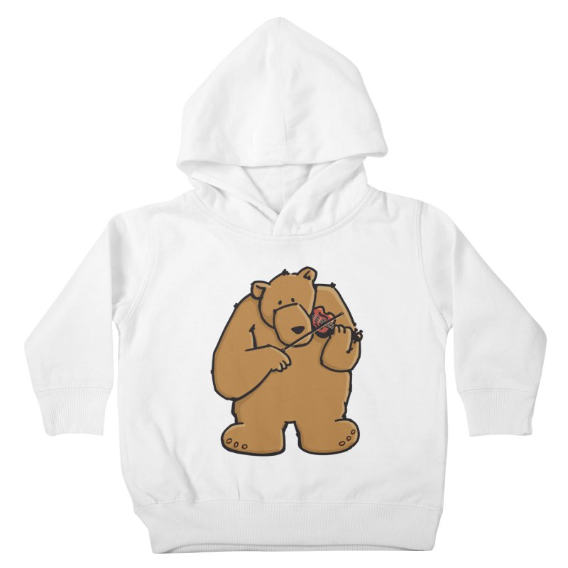 Cute Bear plays a sad and beautiful Love Song on the Violin Kids Toddler Pullover Hoody by Illustrated Madness