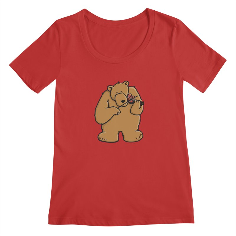 Cute Bear plays a sad and beautiful Love Song on the Violin Women's Scoopneck by Illustrated Madness