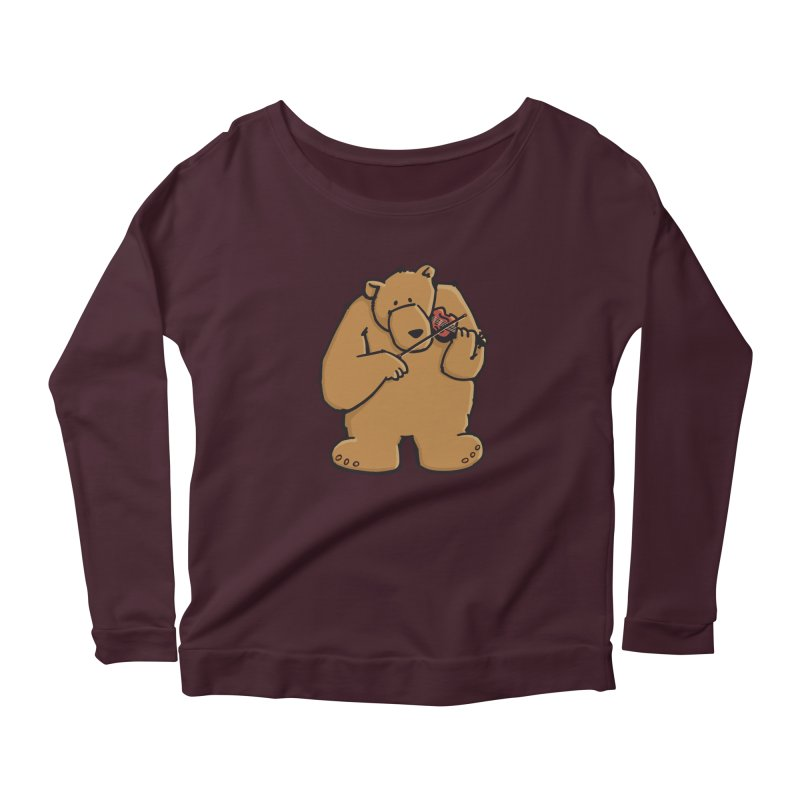 Cute Bear plays a sad and beautiful Love Song on the Violin Women's Longsleeve Scoopneck  by Illustrated Madness