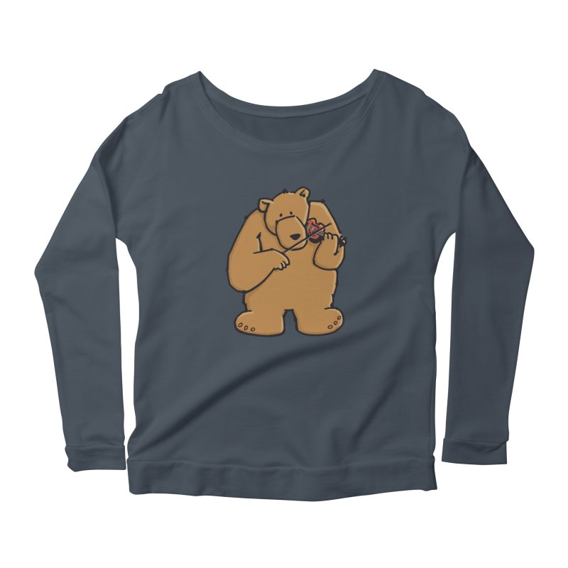 Cute Bear plays a sad and beautiful Love Song on the Violin Women's Scoop Neck Longsleeve T-Shirt by Illustrated Madness