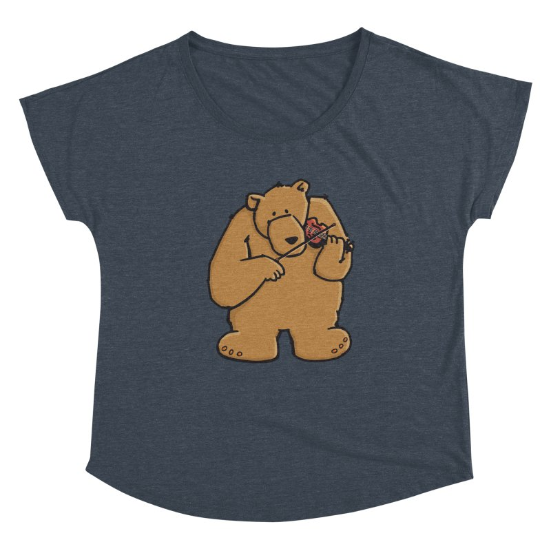 Cute Bear plays a sad and beautiful Love Song on the Violin Women's Dolman Scoop Neck by Illustrated Madness