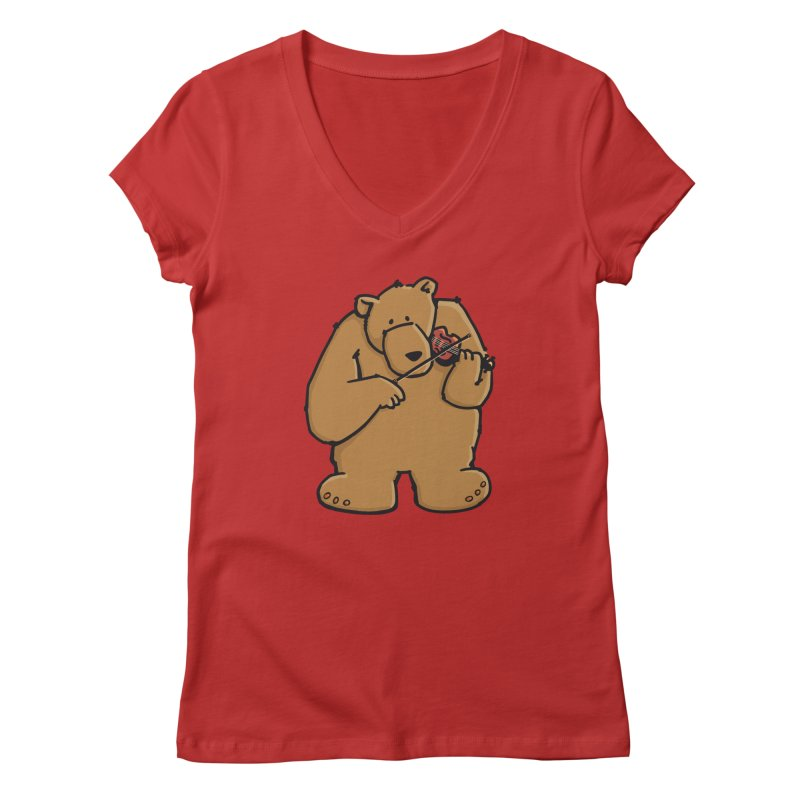 Cute Bear plays a sad and beautiful Love Song on the Violin Women's V-Neck by Illustrated Madness