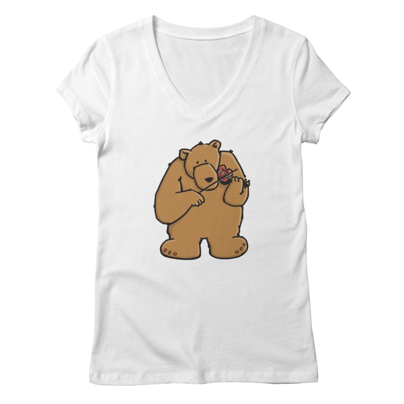Cute Bear plays a sad and beautiful Love Song on the Violin Women's Regular V-Neck by Illustrated Madness