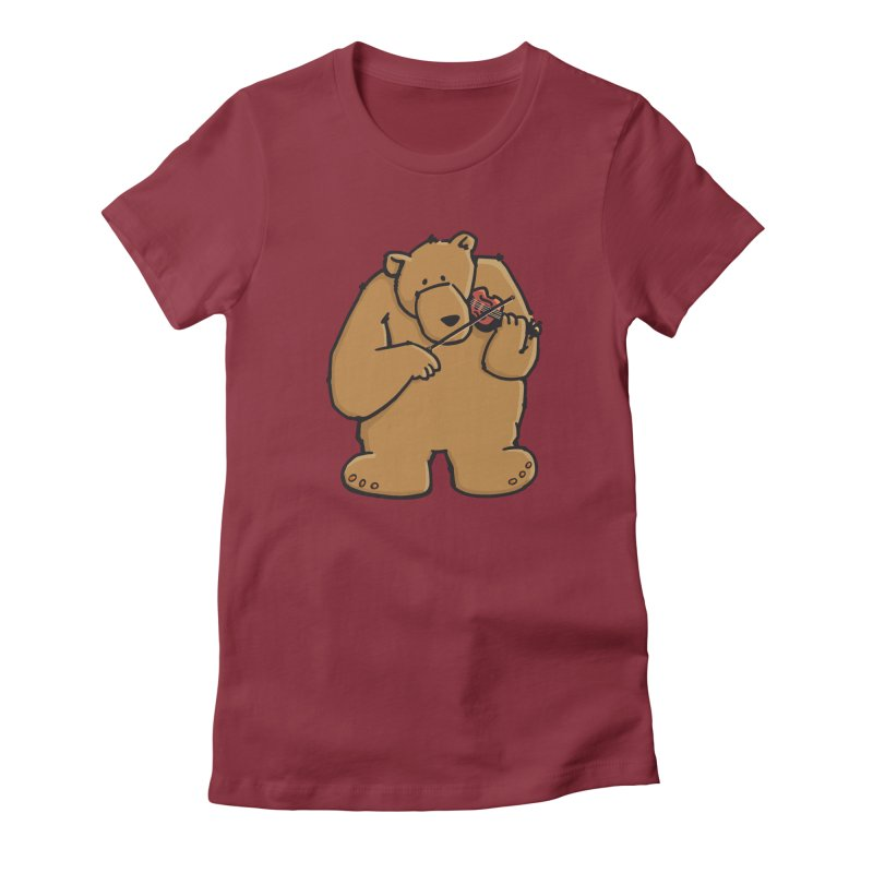 Cute Bear plays a sad and beautiful Love Song on the Violin Women's Fitted T-Shirt by Illustrated Madness