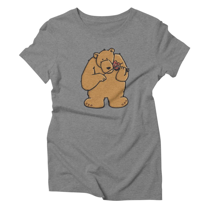 Cute Bear plays a sad and beautiful Love Song on the Violin Women's Triblend T-Shirt by Illustrated Madness