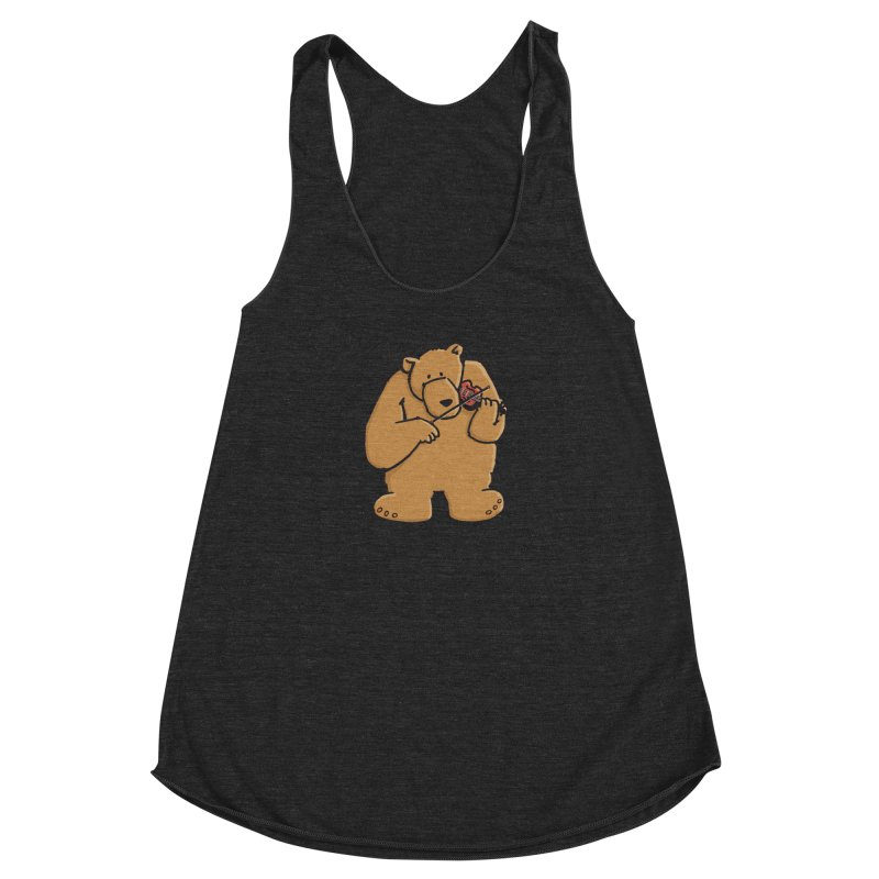 Cute Bear plays a sad and beautiful Love Song on the Violin Women's Tank by Illustrated Madness