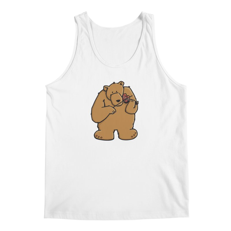 Cute Bear plays a sad and beautiful Love Song on the Violin Men's Tank by Illustrated Madness