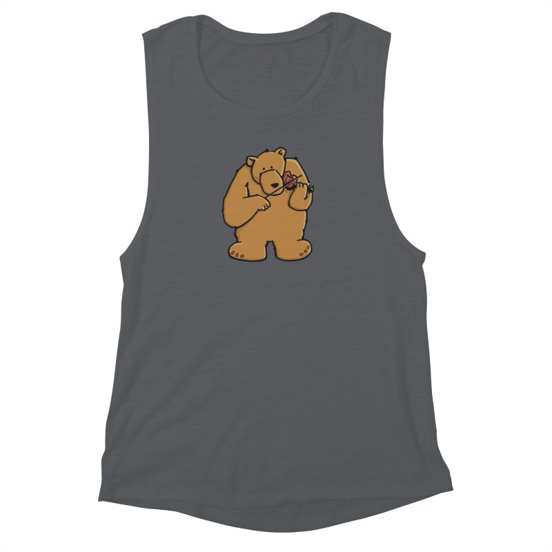 Cute Bear plays a sad and beautiful Love Song on the Violin Women's Muscle Tank by Illustrated Madness