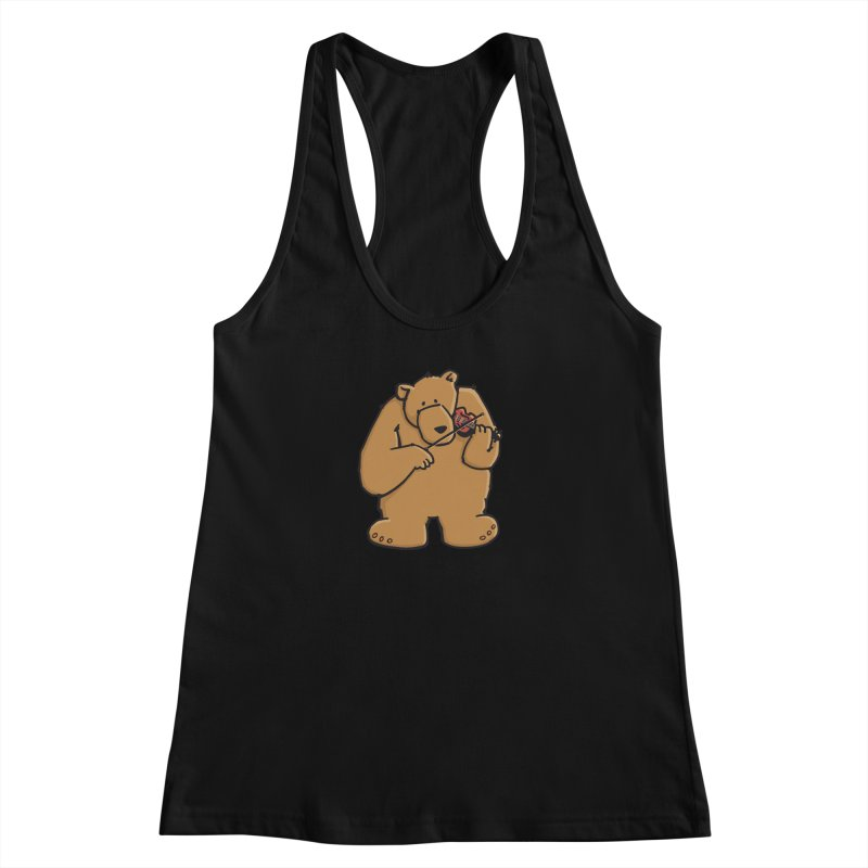 Cute Bear plays a sad and beautiful Love Song on the Violin Women's Racerback Tank by Illustrated Madness