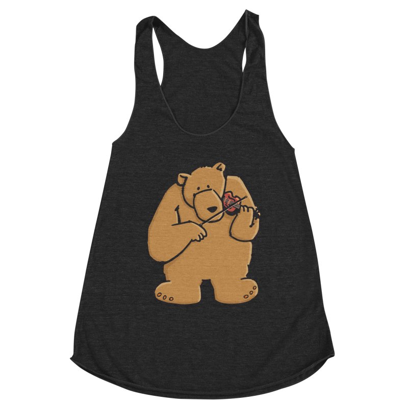 Cute Bear plays a sad and beautiful Love Song on the Violin Women's Racerback Triblend Tank by Illustrated Madness