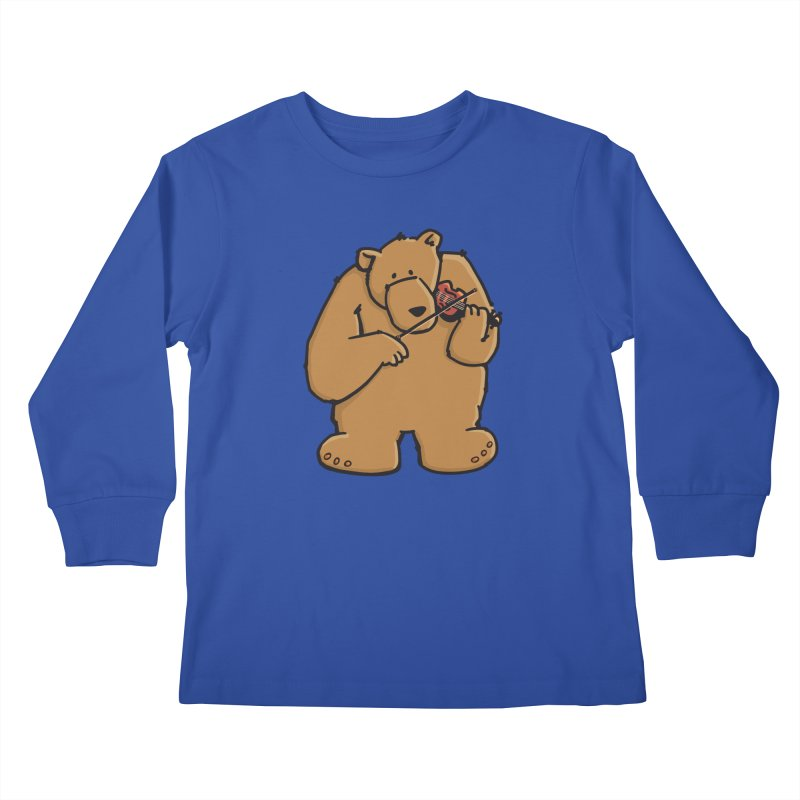 Cute Bear plays a sad and beautiful Love Song on the Violin Kids Longsleeve T-Shirt by Illustrated Madness