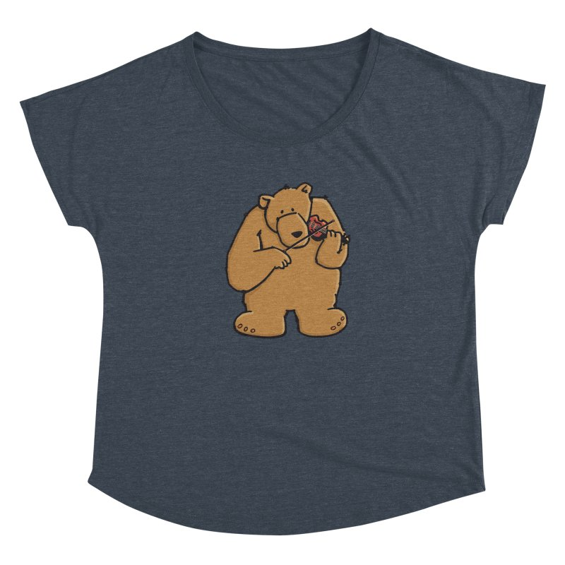 Cute Bear plays a sad and beautiful Love Song on the Violin Women's Scoop Neck by Illustrated Madness