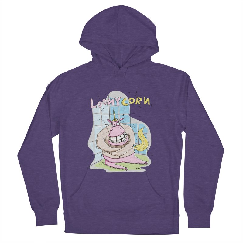 Loony Unicorn - Loonycorn Men's French Terry Pullover Hoody by Illustrated Madness