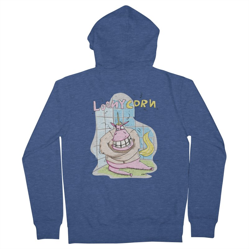 Loony Unicorn - Loonycorn Men's Zip-Up Hoody by Illustrated Madness