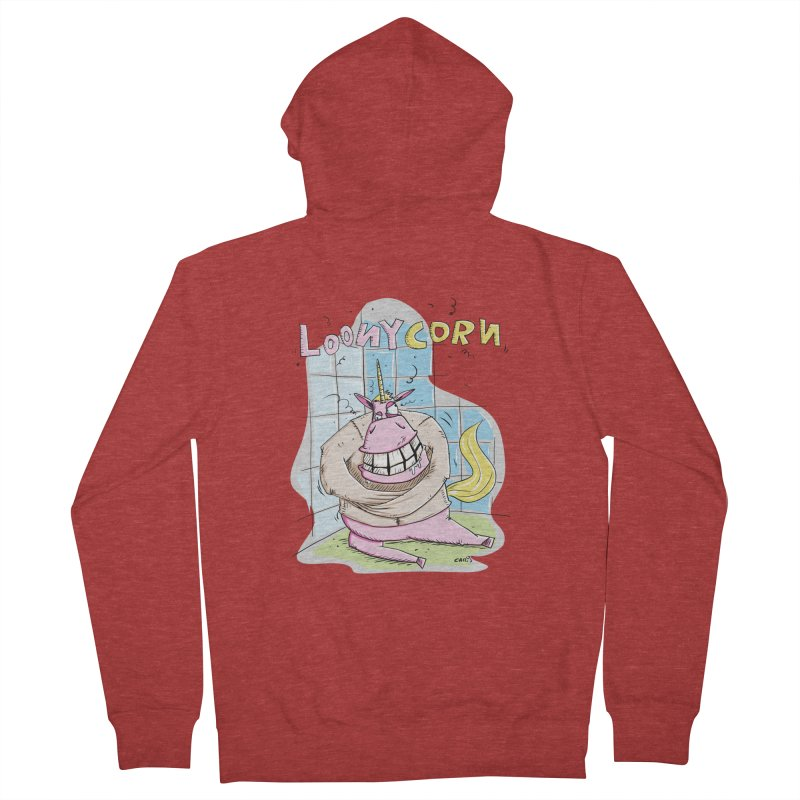 Loony Unicorn - Loonycorn Men's French Terry Zip-Up Hoody by Illustrated Madness
