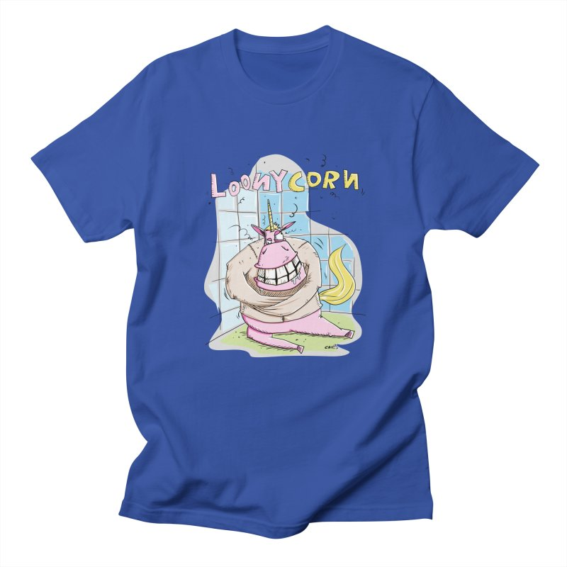 Loony Unicorn - Loonycorn in Men's T-Shirt Royal Blue by Illustrated Madness