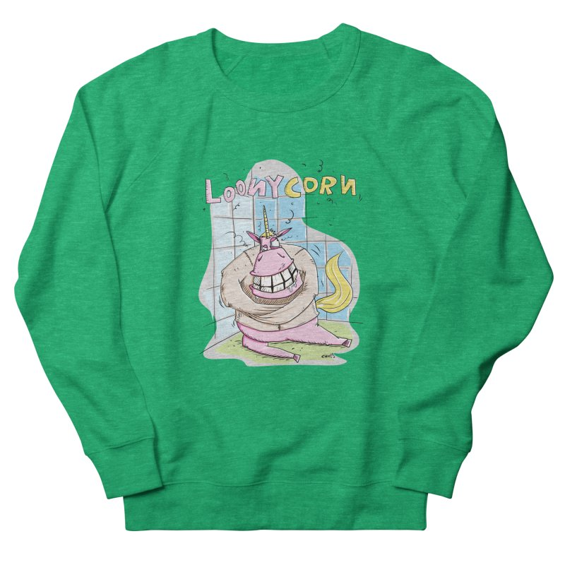 Loony Unicorn - Loonycorn Men's French Terry Sweatshirt by Illustrated Madness