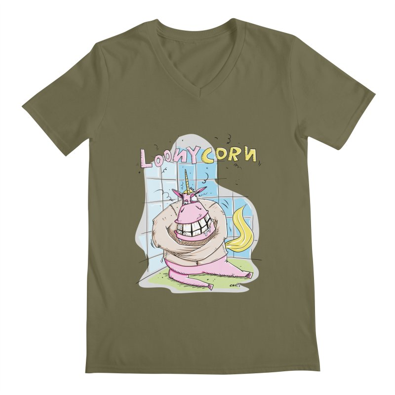 Loony Unicorn - Loonycorn Men's Regular V-Neck by Illustrated Madness