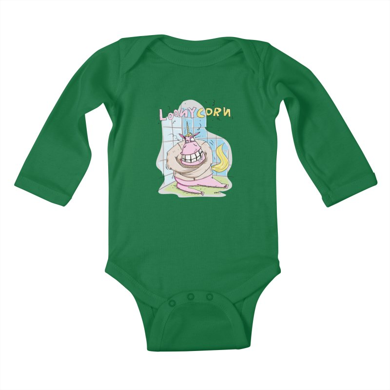 Loony Unicorn - Loonycorn Kids Baby Longsleeve Bodysuit by Illustrated Madness