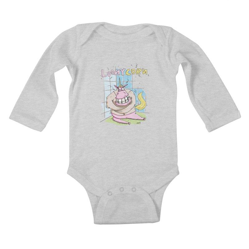 Loony Unicorn - Loonycorn Kids Baby Longsleeve Bodysuit by Illustrated Madness