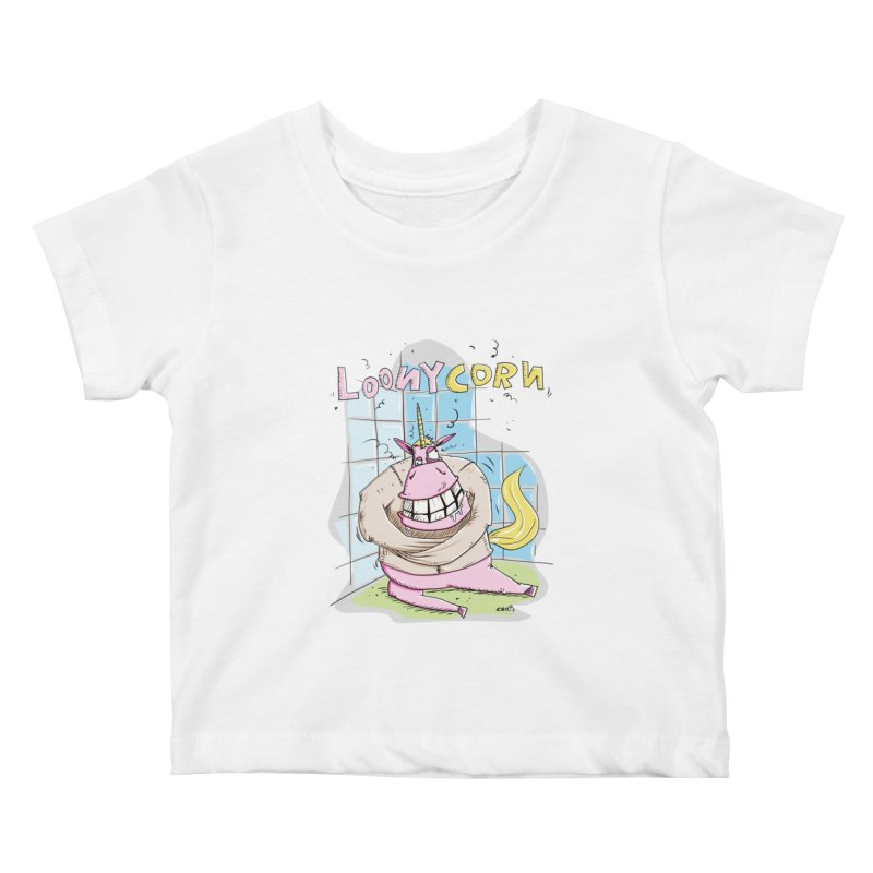 Loony Unicorn - Loonycorn Kids Baby T-Shirt by Illustrated Madness