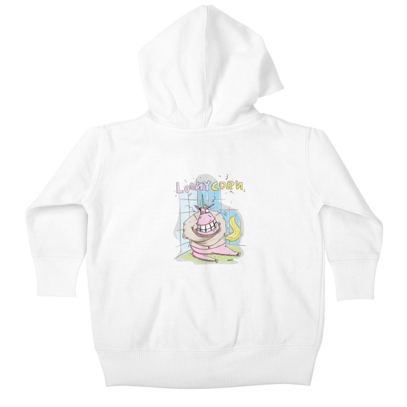Loony Unicorn - Loonycorn Kids Baby Zip-Up Hoody by Illustrated Madness