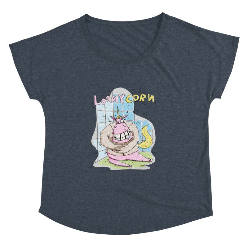 Loony Unicorn - Loonycorn Women's Dolman Scoop Neck by Illustrated Madness