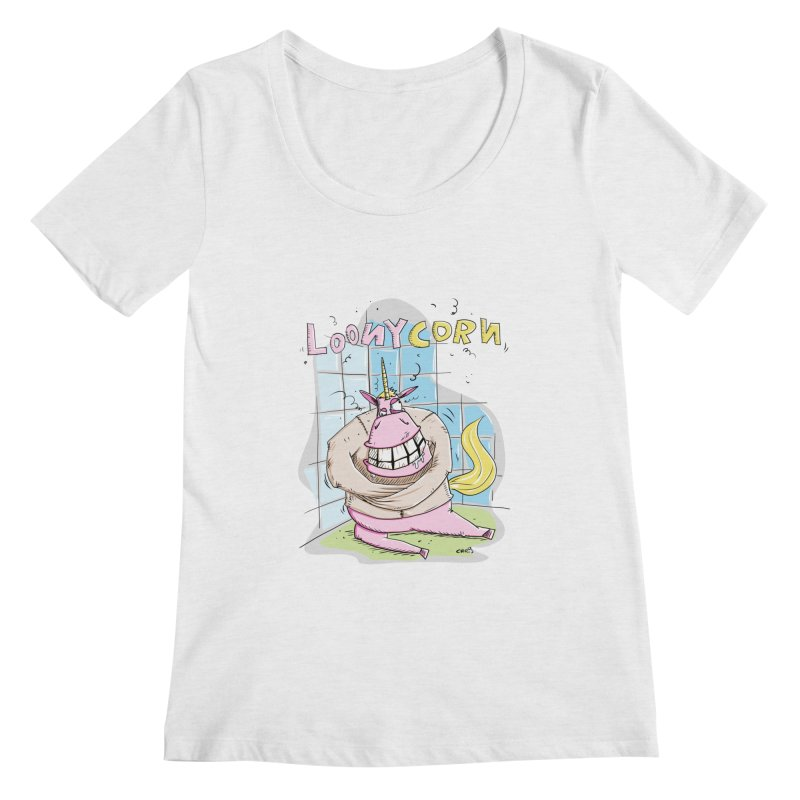 Loony Unicorn - Loonycorn Women's Regular Scoop Neck by Illustrated Madness