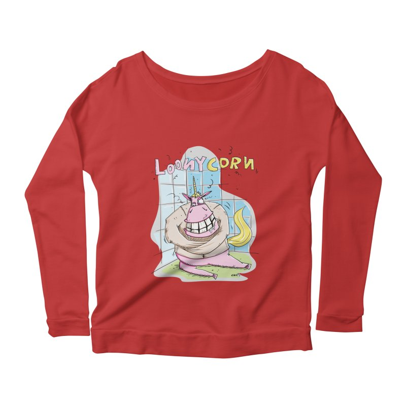 Loony Unicorn - Loonycorn Women's Scoop Neck Longsleeve T-Shirt by Illustrated Madness
