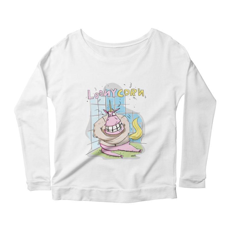 Loony Unicorn - Loonycorn Women's Longsleeve Scoopneck  by Illustrated Madness